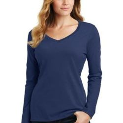 Ladies Long Sleeve Cotton V-Neck T Thumbnail